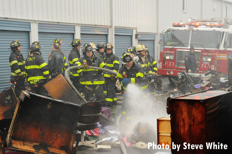 FDNY crews on scene at a fire in a self-storage facility.