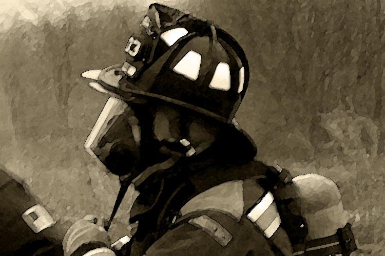 Firefighter geared up