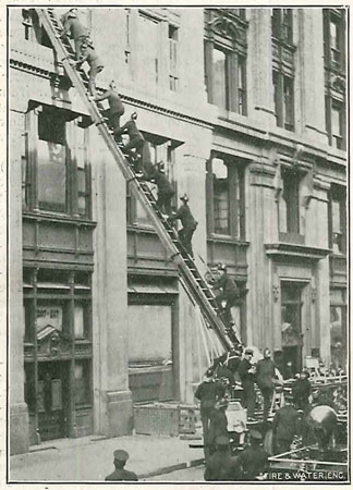 (1) Firefighters ascend the aerial ladder at the 1912 Fire Prevention Day demonstration.