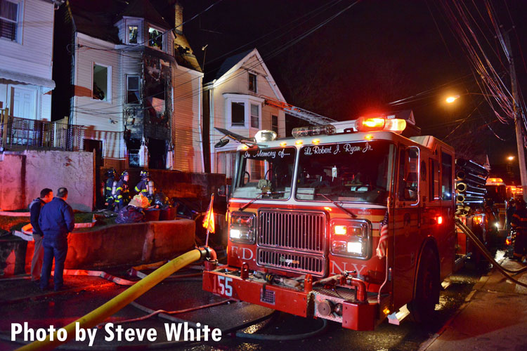 FDNY rig at the scene of a Staten Island dwelling fire.