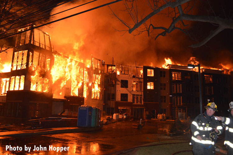Massive flames race through a luxury apartment complex in Maplewood, New Jersey.