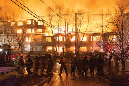 Firefighters at the scene of a massive 2015 fire in Edgewater, New Jersey.