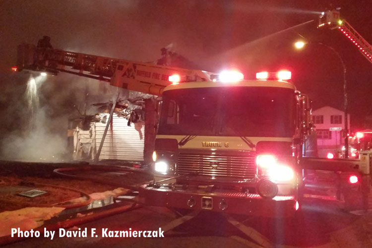 Buffalo (NY) fire apparatus at the scene of a significant structure fire.