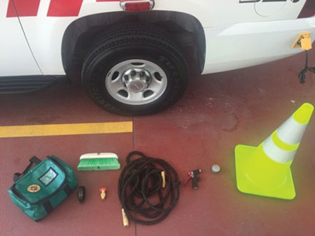 (5) Some of the equipment used in Palm Beach County (FL) Fire Rescue's On-Scene Post-Fire Decon Procedure. [<i>Photos courtesy of Palm Beach County (FL) Fire Rescue.] </i>