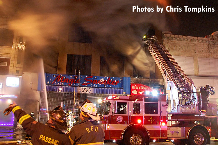 Firefighters on the scene of a huge fire in Passaic, New Jersey