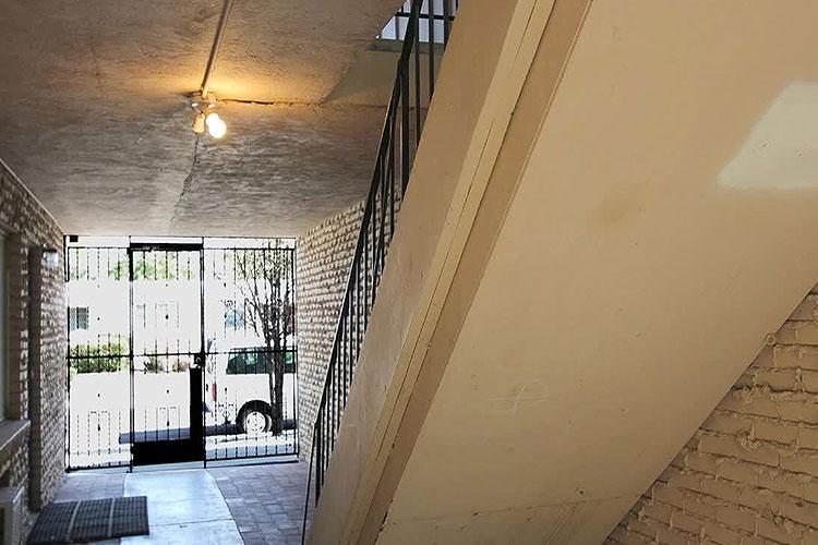Interior stairwell at a garden apartment
