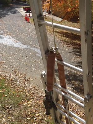 """(6) The nozzle hose strap is rigged using the """"in-and-out"""" method."""