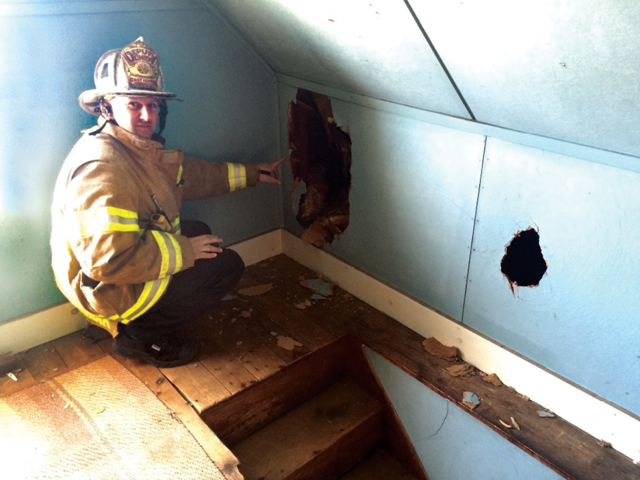 (4) Knee walls must be kept intact if no line is in place. If a line is in place, knee walls must be addressed before making a push across the attic. (Photo by Chris Tobin.)