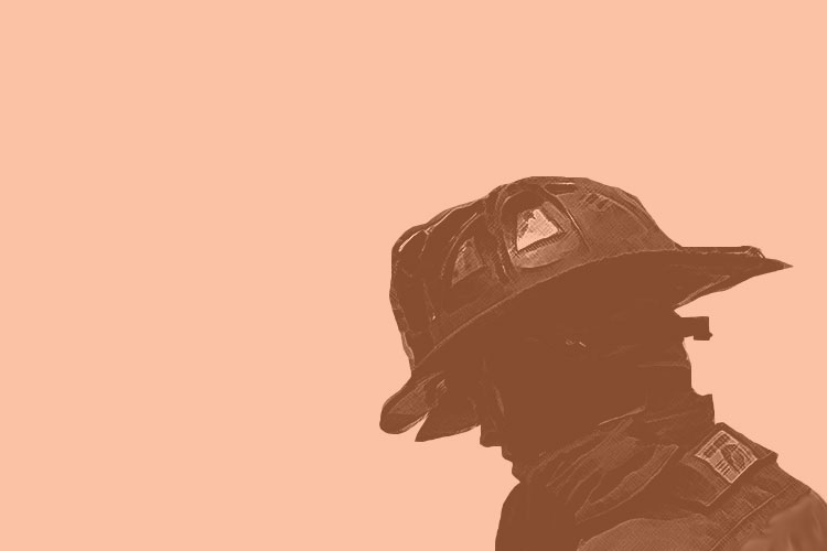 Firefighter with face in shadow