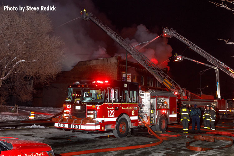Multiple aerial devices at work during Chicago fire