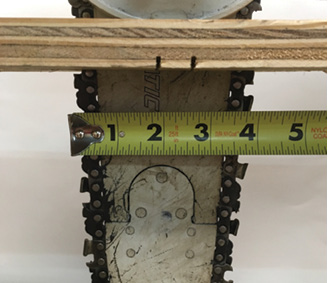 (4) Cut flex is achieved because the blade is relatively narrow in relation to the cut material. When held perpendicular to the material, a chain saw has roughly four inches of blade through the material, as opposed to more than 11 inches with a 13-inch rotary blade.