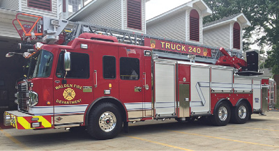"""The Walden (NY) Fire Department runs this SPARTAN ER rear-mount aerial as a """"dedicated"""" truck company (no pump or water tank.)."""