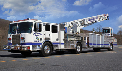 The Santa Barbara County (CA) Fire Department designed this KME tractor-drawn aerial like a quint, making it self-sufficient, if needed.