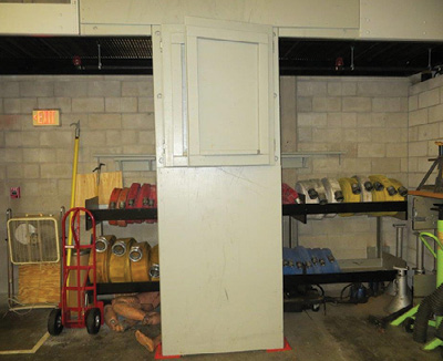 (10) The doors fold over on each other to allow us access to our storage areas.