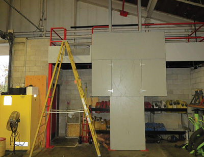 (11) We place an A-frame ladder next to the prop and tie it off when it is in use.