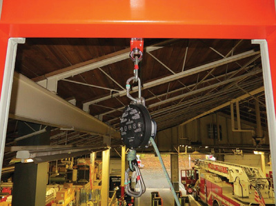 (16) We use a belay device in the interest of safety. The eye hook attached to the steel overhang is tested at 10,000 pounds.