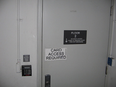(12)Occupants must use the keypad to enter their office suite from the stairwell.