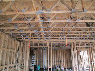 (6) This multiple dwelling is protected by an NFPA 13R residential sprinkler system. There is no requirement to install sprinklers to suppress a fire originating in or extending to the attic or a concealed space between the ceiling and floors supported by lightweight wood parallel floor trusses.
