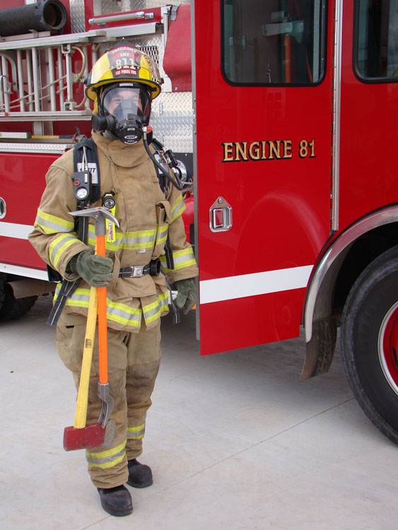 Firefighter with the irons