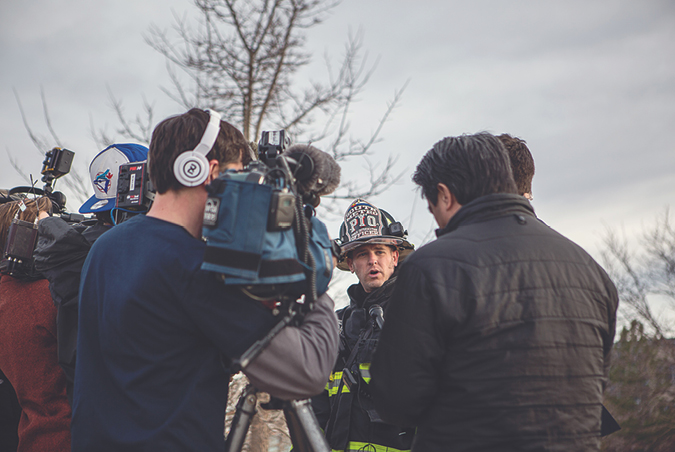 (1) Critical incidents quickly create stressful task saturation for public information officers. Although media interviews are a priority, focus on the timely capture of operations and updating of social media. (Photo by Rachel Hurst; all other photos by author.)