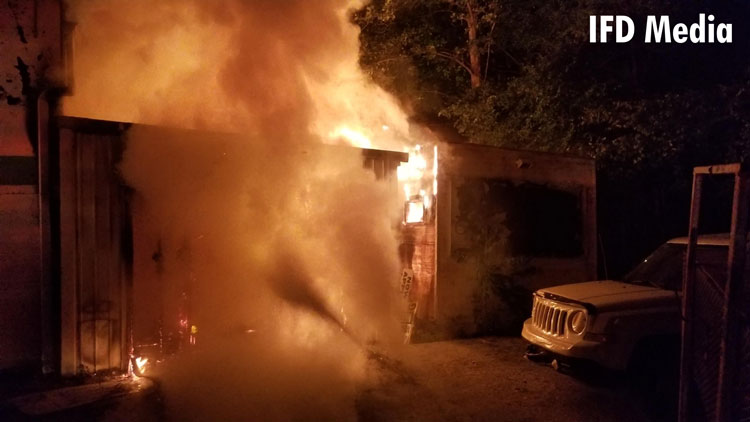 Fire at a towing shop in Indiana