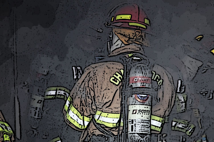 Firefighters operating in darkness