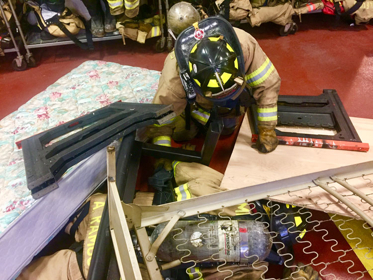 Firefighters engage in Mayday training