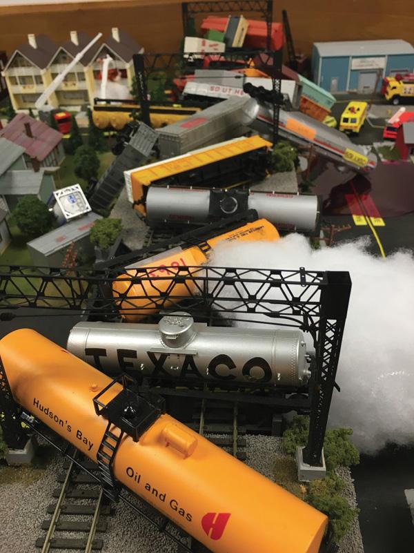 A vapor leak after a train derailment.