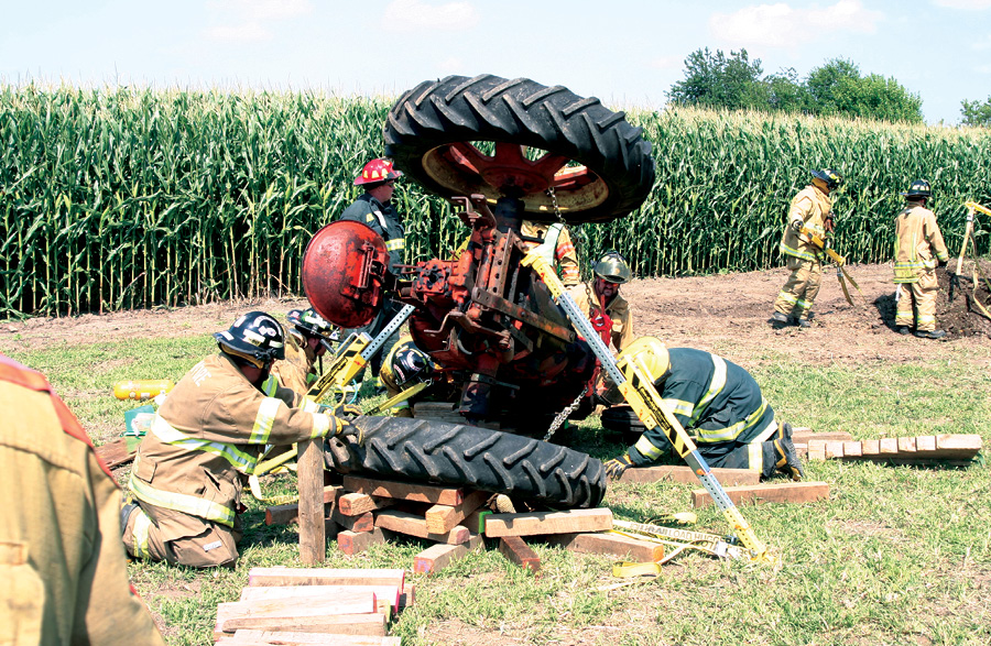 This tractor had to be stabilized on its side.