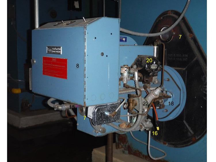 Opposite side of the boiler and burner