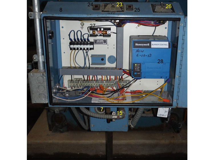 Inside of the burner control cabinet