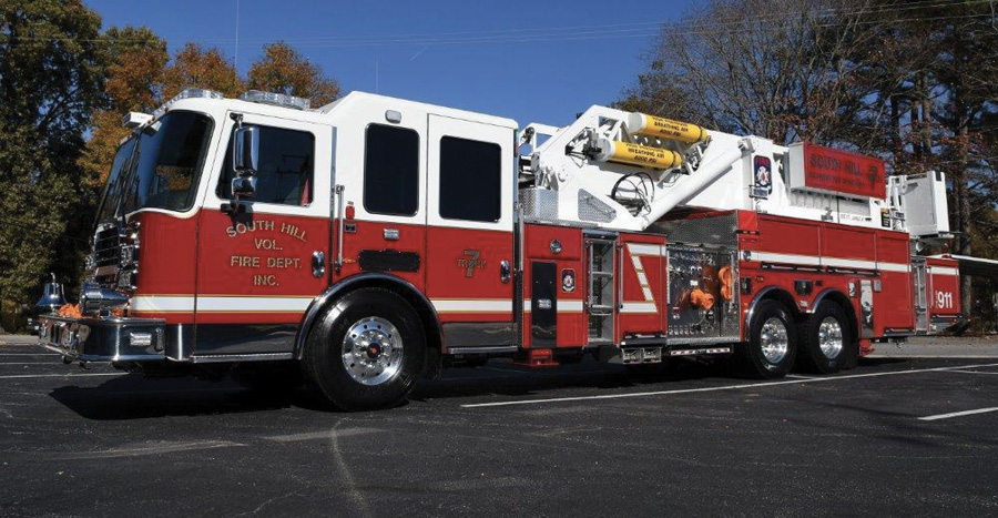 The South Hill (VA) Volunteer Fire Department added a pump and tank to its KME platform to make it more self-sufficient when they replaced an older, used 75-foot unit.