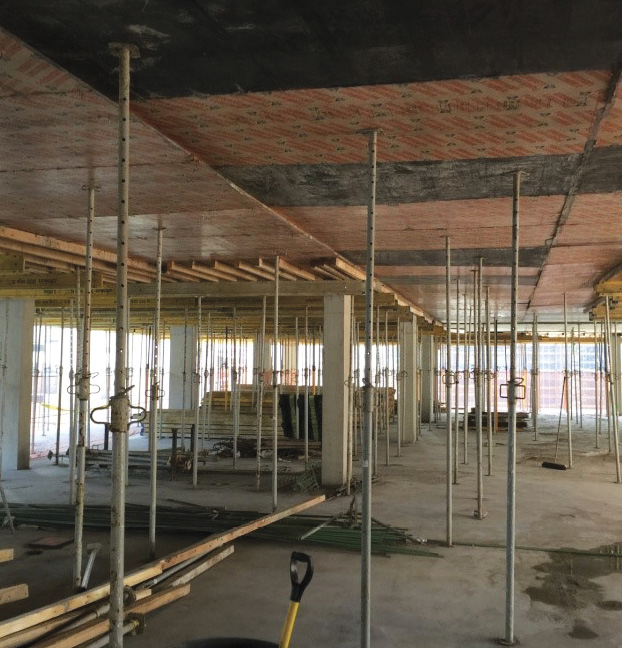 Shoring on the floors below will be placed farther apart than shoring on the floor above.