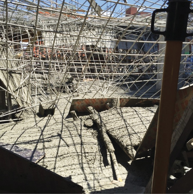 Following the collapse of a concrete structure under construction, everything, including victims, will be coated and covered with concrete. Everything coated will be the same color as the concrete, making it difficult to distinguish victims from construction debris.