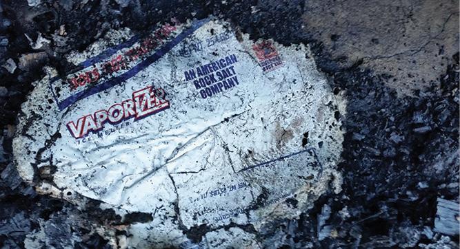 The bottom of the plastic rock salt bag.