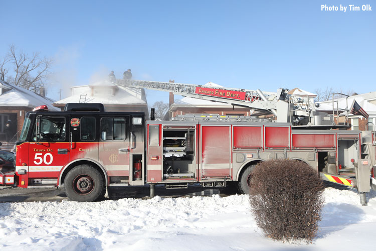 Chicago fire truck in the cold