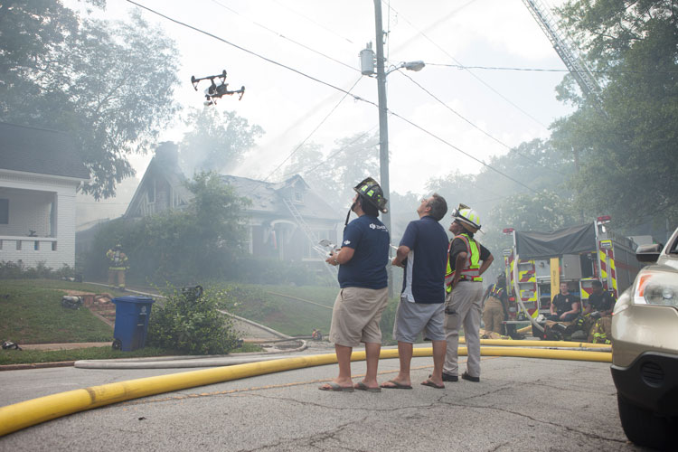Drone at house fire