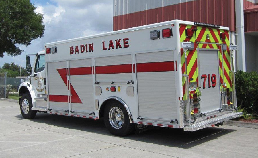 The Badin Lake Fire Department, New London, North Carolina, uses this EVI medium size rescue truck for rescue calls and as an equipment carrier for fireground support, says Assistant Chief Ronnie Metcalf.