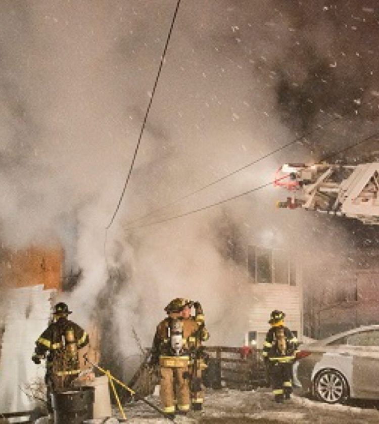 Black smoke can instantly turn bright white when contacting outside, frigid air. (Photo courtesy of Keith Muratori, Firegroundimages.com.)