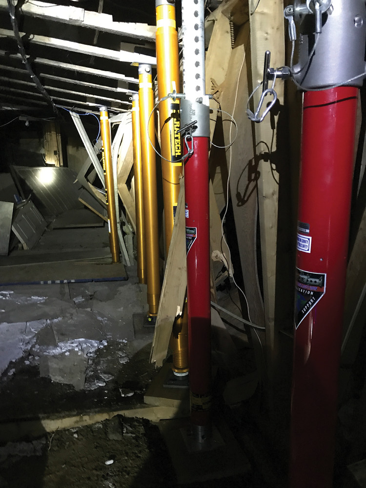 Temporary vertical shoring in the basement of the collapsed structure. (Photo by John Soderberg.)
