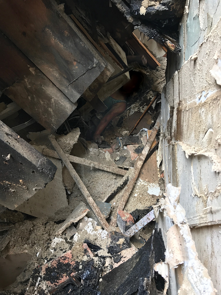The victim's original position before the secondary collapse. (Photo by Christopher Chiprich.)