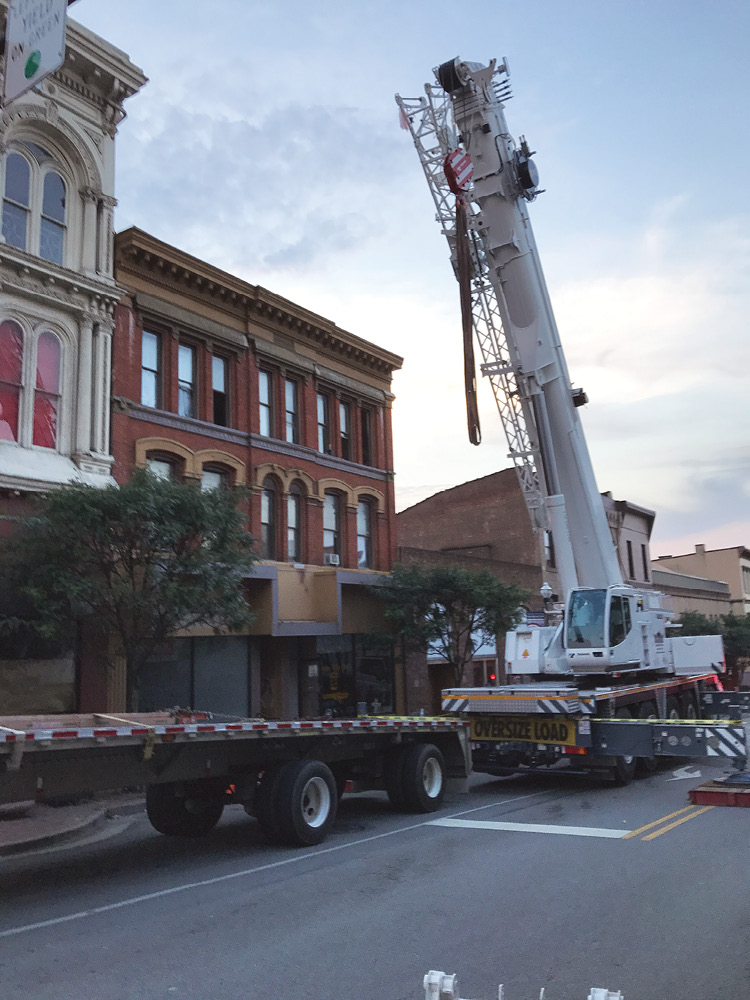 Although ultimately not used, a crane was set up on the A side and readied for a possible roof-lifting operation. (Photo by John Soderberg.)