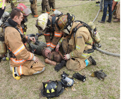 Search crew removes simulated victim