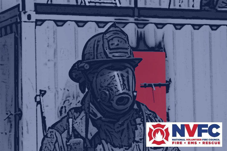 National Volunteer Fire Council logo and firefighter