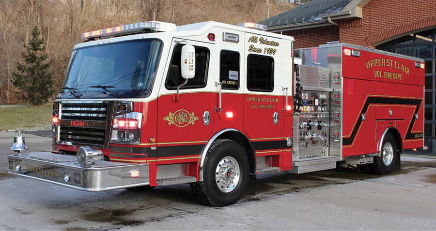 The Upper St. Clair (PA) Volunteer Fire Department designed this ROSENBAUER pumper as a first-due engine to give quick attack and ample water, says First Assistant Chief Josh O'Connor. The unit has a large motor to climb the response area's hills as well as a large foam supply for the potential of ever-changing building and vehicle hazards