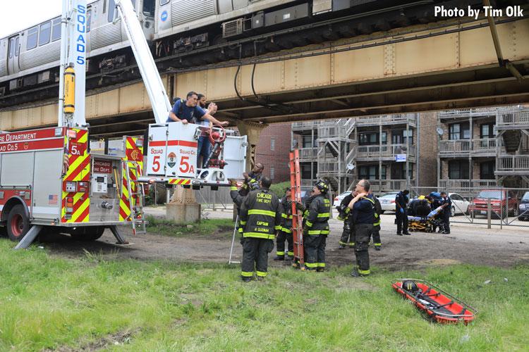 Chicago fire crews at train derailment