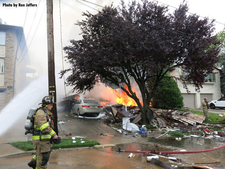 Collapsed home following New Jersey home explosion