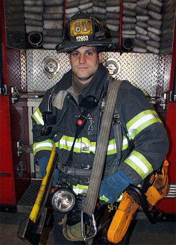 Firefighter wearing bunker gear