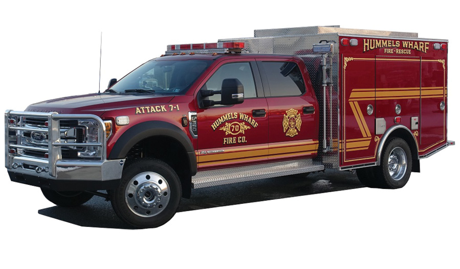 The Hummels Wharf Fire Company (Monroe Township, Pennsylvania) designed this MARCO FIRE EQUIPMENT minipumper to run with their other engines.