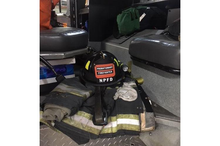 A probationary firefighter helmet